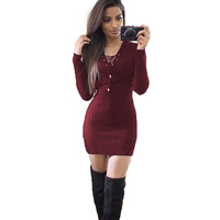 2016 Young Girls' Solid Bandage Dresses Sexy Long Sleeved V Neck Lace Up Bodycon Mini Party Vestidos Strechy Solid Color LX095