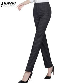 Autumn New fashion straight pants women's OL slim formal plus size office stripe trousers black gray navy blue