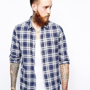 ASOS Linen Mix Shirt In Long Sleeve With Blue and White Check