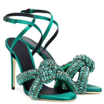 Crystal embellished satin sandals
