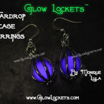 Teardrop Glow Cage Earrings leverback