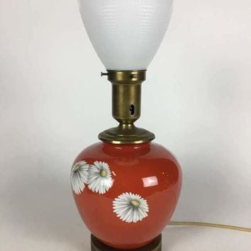 Vintage table lamp with pretty painted flowers, with a milk glass shade