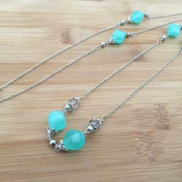 "Long 28"" Necklace, Sterling Silver, Aqua Acrylic Bead with Austrian Crystals, Chain Link, Handmade / Handwrapped"