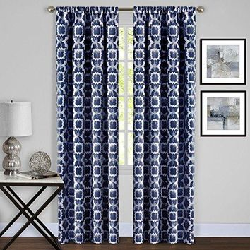 Ben&Jonah Collection Tara Window Curtain Panel - 54x84 - Navy