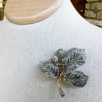 Vintage Leaves Rosebud Stem Pave Rhinestone Pin 3D 1940s Rhodium Plated Branch