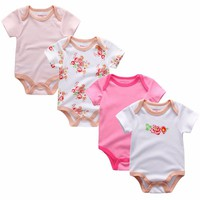4pcs/lot New Born baby clothing sets 100% Cotton Cute Cartoon short Sleeve Baby Girl boy soft infant Romper suit