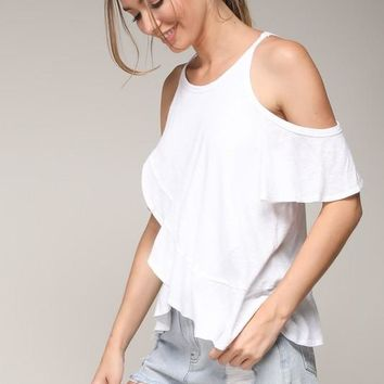 Cold Shoulder Flowy White Top