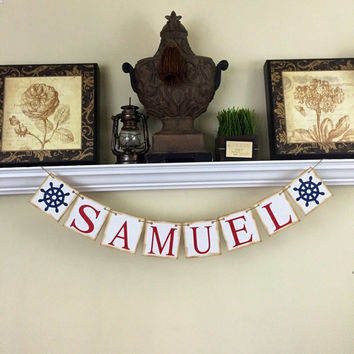 Personalized Name Banner, Nautical Baby Shower Decorations, Nursery Decor, Baby Shower Decor, Kids Wall Art, Red and Blue