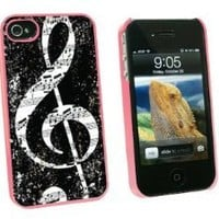 Graphics and More Vintage Treble Clef Music Black - Snap On Hard Protective Case for Apple iPhone 4 4S - Pink - Carrying Case - Non-Retail Packaging - Pink