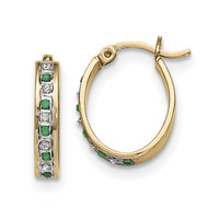 Sterling Silver & Gold-plated Diamond & Emerald Oval Hoop Earrings QDF139