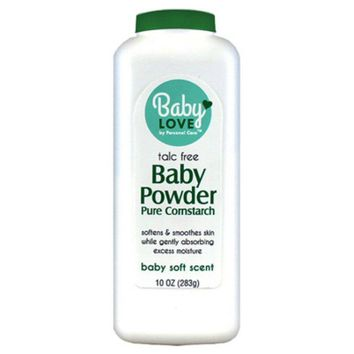 Personal Care® 92494-9 Baby Love Talc Free Baby Powder w/ Pure Cornstarch, 10 Oz