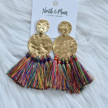 Textured Metal Tassel Earring, Multi