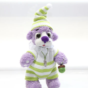 GNOME Baby Bear  - Artist Teddy Bear  /  Lavender Bear / Hand Knitted and Felted Bear /  OOAK