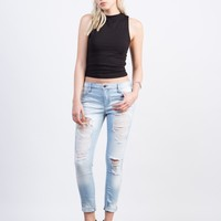 Light Wash Cropped Skinny Jeans