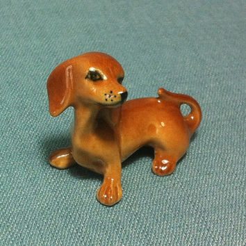 Miniature Ceramic Dog Dachshund Animal Cute Little Tiny Small Brown Orange Figurine Statue Decoration Collectible Hand Painted Figure Craft