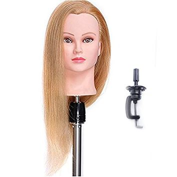 "Mannequin Head 100% Human Hair 24"" Hairdresser Training Head Manikin Cosmetology Doll Head (Table Clamp Stand Included) HA2718P"