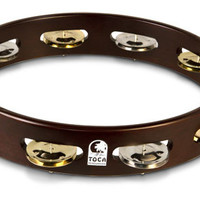 "Toca Dark Wood Acacia Tambourine, 10"" Single Row"