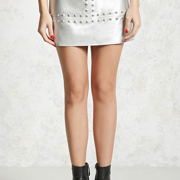 Studded Metallic Mini Skirt