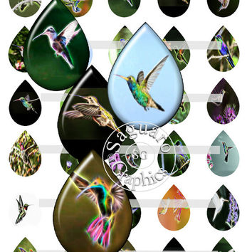 Hummingbirds Fractalius & Oil Paintings Art - Digital Collage Sheets - 28x40mm Teardrops for Jewelry Makers, Party Favors, Crafts Projects