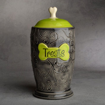 "Dog Treat Jar: ""Treats"" Black & Green Dog Treat Jar by Symmetrical Pottery Made To Order"
