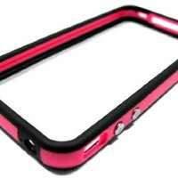 iphone4 4g bumper case black on pink whit metal buttons