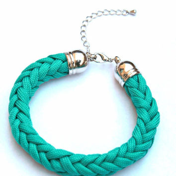 Kumihimo Braided Bracelet| Teal and Turquoise Bracelet| Woven Bracelets| Women's Bracelet| Women's Gift| Parachute Cord| Paracord