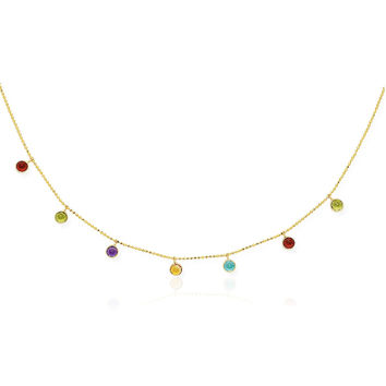 14K Yellow Gold Cable Chain Necklace with Round Multi-Tone Charms