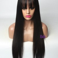 Yuba See-through Bangs Silk Straight Lace Front Human Hair Wig In Stock