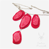 Polymer clay necklace in red color | Four hanging pendant on one necklace