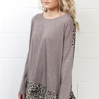 Leopard Back + Ruffle Knit Sweater {Mocha}