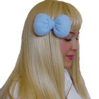Mini Minnie Mouse Poofy Hair Bow Clip in Light Blue