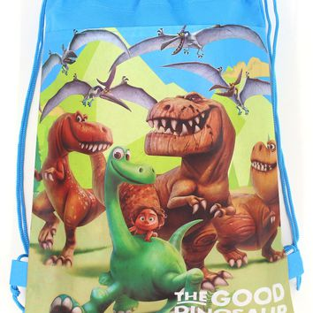 12Pcs New The Good Dinosaur Drawstring Boys Girls Cartoon School Bag Children Printing School Backpacks for Birthday Party Gifts