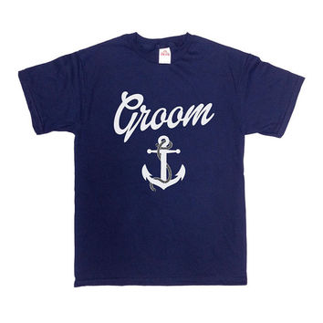 Groom Shirt Anchor Bachelor Party T Shirt Nautical Wedding TShirt Wedding Rehearsal Dinner Wedding Party Gift Bachelor Party Mens Tee -SA307
