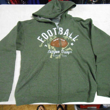 Hanes Boys' Graphic Fleece Full Zip Hoodie, 2XL, Olive Football