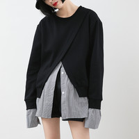 Free Shipping Fake two Striped T-Shirt Black Sweater