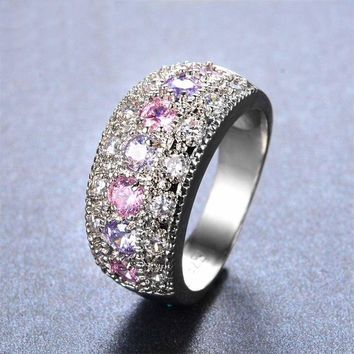 Pink & Lavender Amethyst Silver Band Ring-Sz 8-In Crystal Ring Box-Jewelry Sale!
