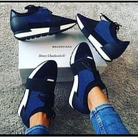 BaLenciaga Trending Women Men Personality Race Runners Sport Shoe Sneaker Black Blue I