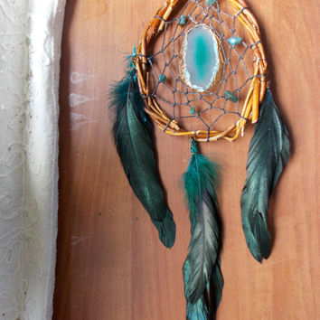 Dream Catcher with Moss Agate and Green Agate Slice // Unique Boho Hippie Home Decor Wall Hanging