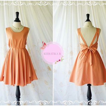 A Party V Shape Backless Dress Pale Dusty Tangerine Dress Tangerine Prom Party Dress Wedding Bridesmaid Dress Cocktail Backless Dress XS-XL