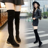 Women Stretch Faux Suede Slim Thigh High Boots Sexy Fashion female warm Over the Knee Boots High Heels zapatos mujer Shoes F056