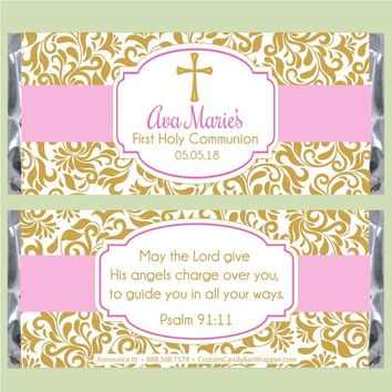 Damask First Communion Candy Bar Wrappers
