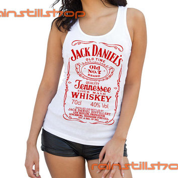 Jack Daniels whiskey red logo - tank top for women