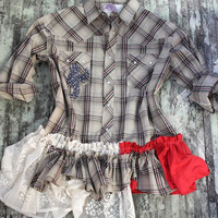 Women's plaid ruffle shirt, country western wear, rustic country chic, shabby lace, cottage clothing, true rebel clothing, winter