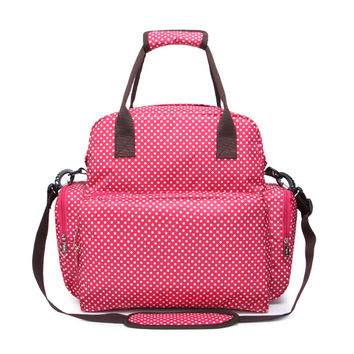 Mummy Outdoor Bag Baby diaper Nappy Multi Function Backpack Bag Mummy Tote Handbag Shoulder bag   red