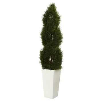 Artificial Tree -5.5 Foot Double Pond Cypress Spiral Tree in White Tower Planter