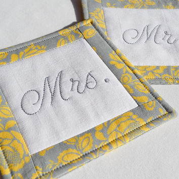 Mr. and Mrs. Wedding Coasters - Mug Rug - Home Decor - Gray - Yellow - Flower - Hand Stitched