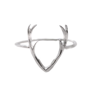 Sterling Silver Handcrafted Brushed Metal Deer Horn Ring
