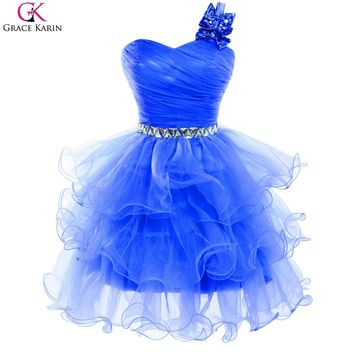 Grace Karin Cocktail Dresses Blue White Purple Pink Gray Back To School Bow One Shoulder Formal Gowns Short Cocktail Party Dress