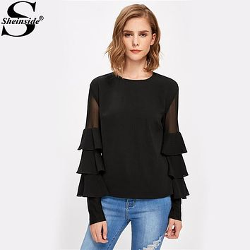 Sheinside Black Ruffle Long Sleeve Women Shirts Mesh Insert Tiered Bell Sleeve Office Ladies Tops 2017 Elegant Blouse