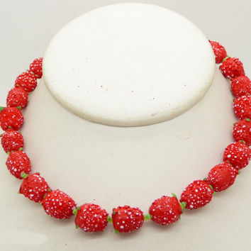Vintage Miriam Haskell Glass Strawberry Necklace